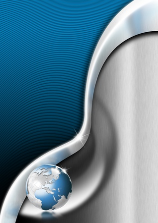 Blue and metal business background with waves and reflections Archivio Fotografico