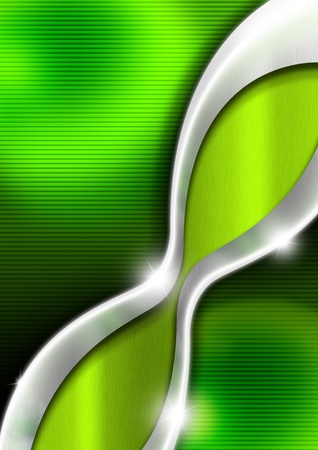 Green and metal business background with waves and reflections Stock Photo - 13486838