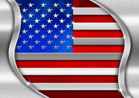Red blue and metal background national usa metal flag photo