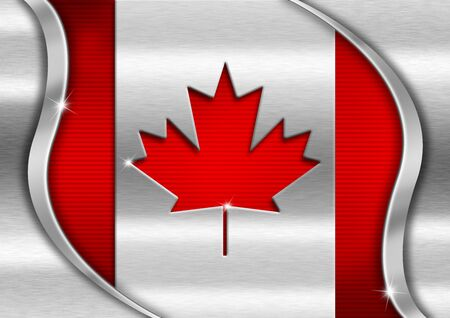 Red and metal background national canadian metal flag photo