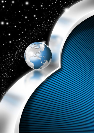 Blue and metal business background with waves, globe and reflections Stock Photo - 13595744