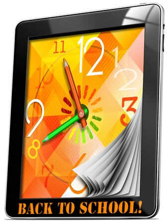 Colorful watch with hands, concept back to school on tablet pc! photo