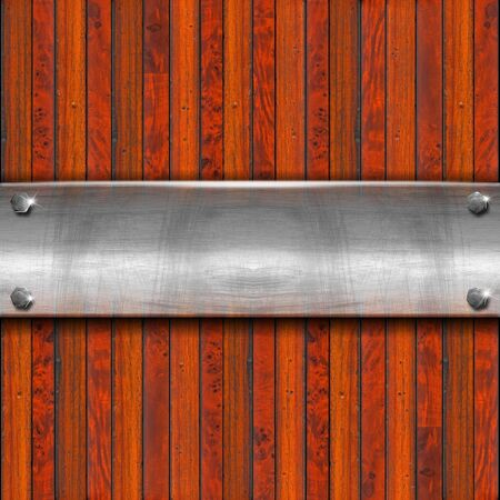 Old metal plate with bolts on wooden vintage background Stock Photo - 15195607