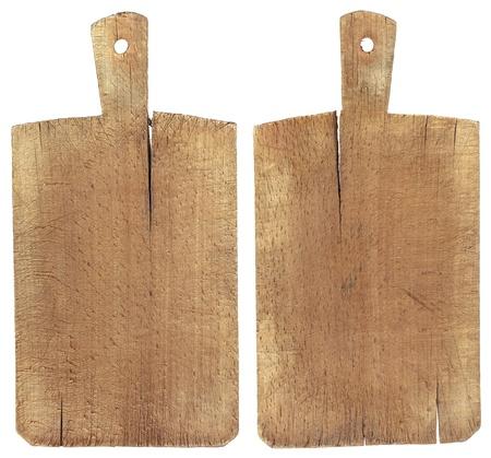 �board: Usado picado o la tabla de cortar aislado en withe Foto de archivo