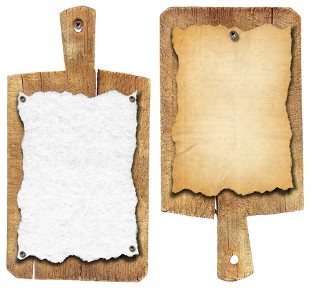 Two notebooks for recipes or menu on used wooden cutting boards  photo