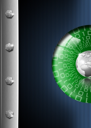Blue, green and metal business background with globe and reflections photo