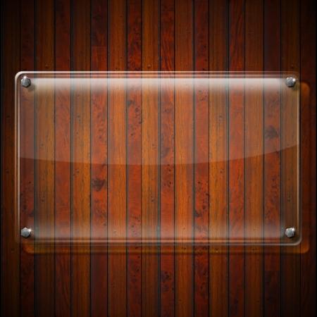 Glass or plexiglas framework on wooden vintage background