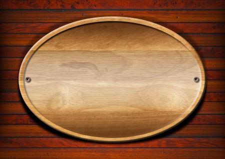 plaque: Wooden plate on wooden and old vintage background Stock Photo