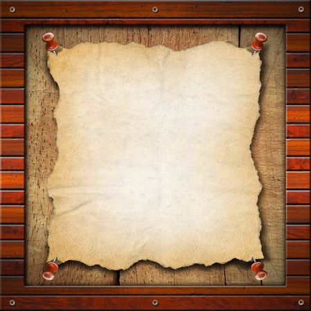 Blank and vintage paper in old wood frame Archivio Fotografico