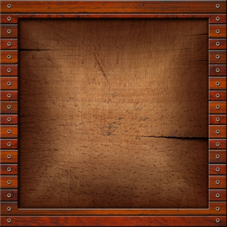 Square vintage frame on wood for background or text photo