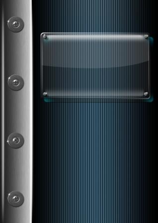 Glass or plexiglas framework on modern blue and metal background Stock Photo