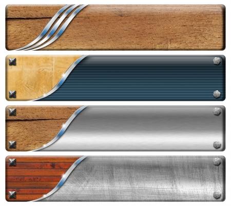 header: Set di bandiere moderno e vintage con perni metallici teste