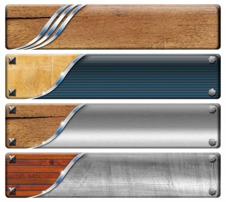 header: Set of banners modern and vintage with metal bolts heads