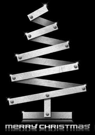 Metal Christmas tree with bolts heads on black background