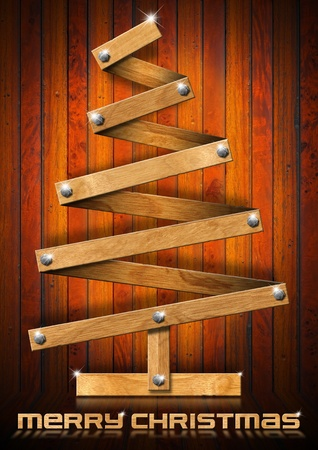 Wooden Christmas tree with bolts heads on wood background photo