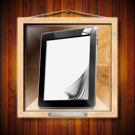 narrative: Black tablet computer with blank pages on wooden frame