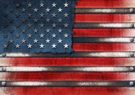 world trade center: Usa grungy metal flag with bolts heads Stock Photo