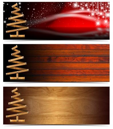木製のクリスマス ツリーの 3 つのクリスマスのバナー