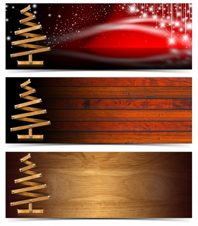 Three Christmas banners with wooden christmas tree Archivio Fotografico