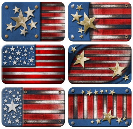 american hero: Six USA grungy metal flag  Stock Photo
