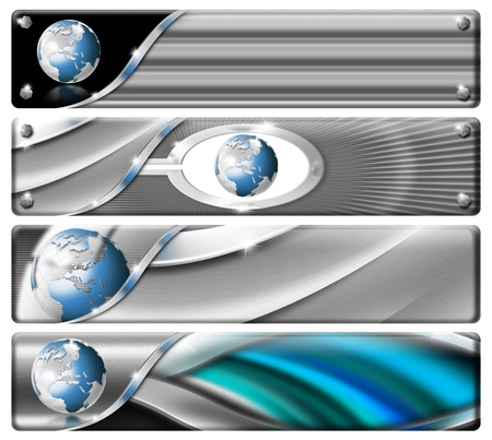 Four horizontal modern headers or banners with earth Banco de Imagens