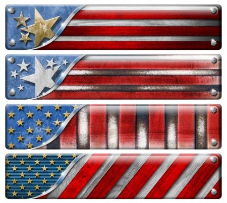 wartime: Four USA grungy metal flag  Stock Photo