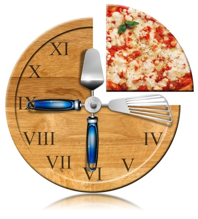 commercial kitchen: Wooden cutting board clock with slice of pizza Stock Photo