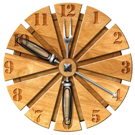 cutting board: Wooden cutting board clock lunch time concept Stock Photo