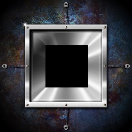 Empty metallic frame on a grunge blue background Stock Photo - 15077322