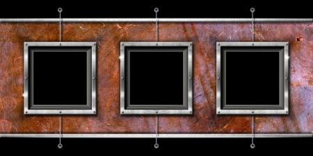 Horizontal and grunge background with three metallic frames Stock Photo - 15077346