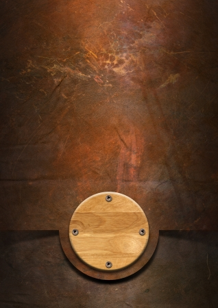 Metallic grunge background with wooden plate and screw heads photo