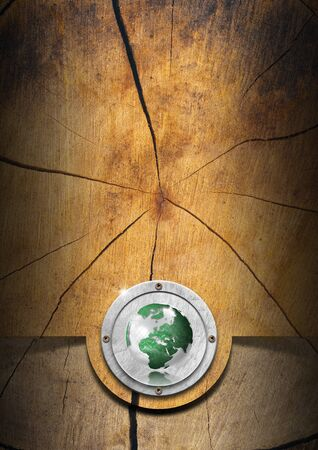 Wood eco background with green globe photo