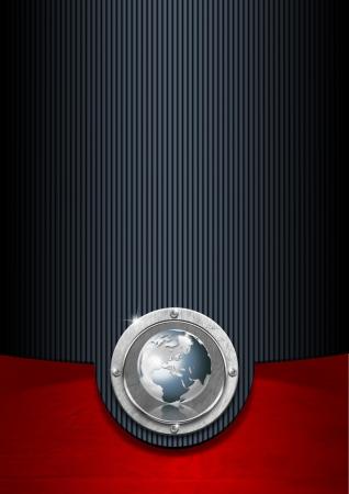 Blauw zwart en rood zakelijke achtergrond met metalen plaat en de wereld
