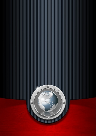 Blue black and red business background with metal plate and globe Archivio Fotografico