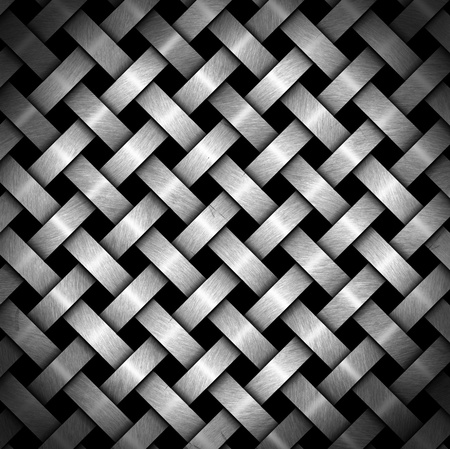 metal mesh: Metal crisscross diagonal template on black background with reflections Stock Photo