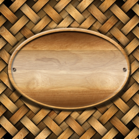 Wooden crisscross diagonal template with oval wooden frame Stock Photo - 15170051