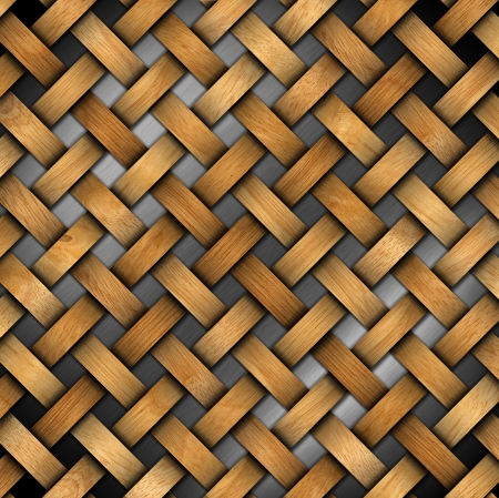 Wooden crisscross diagonal template on metal background photo