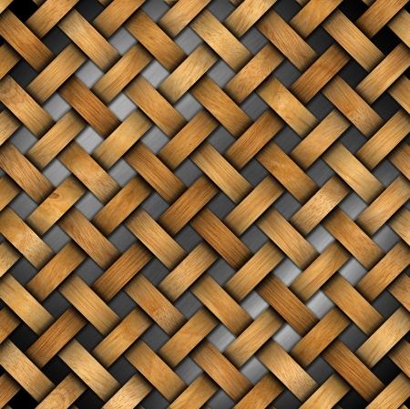 crisscross: Wooden crisscross diagonal template on metal background