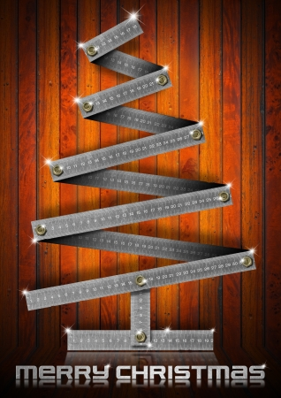 bolts heads: Metallic Christmas tree with bolts heads on wood background Stock Photo