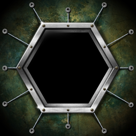 Empty metallic hexagonal frame on a grunge green background photo