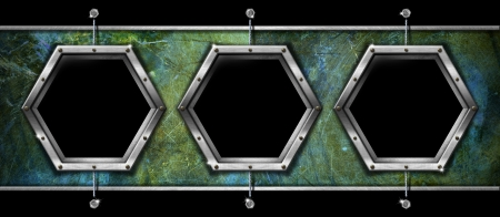 Horizontal and grunge background with three hexagonal metallic frames photo