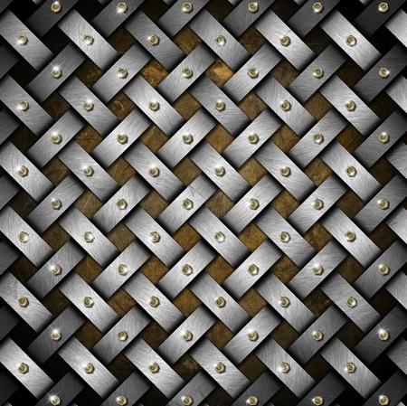 Metal crisscross diagonal template with bronze heads bolts photo