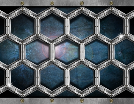 Blue and black grunge background with metallic hexagons photo