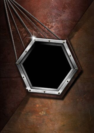 Brown and metal grungy business background with hexagonal frame Stock Photo - 15300124