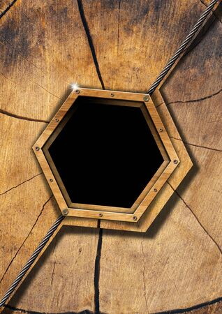 Wood ecology background with hexagonal wooden frame and metal cable photo