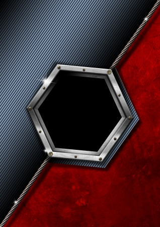 Blue black and red business background with hexagonal empty metal frame photo