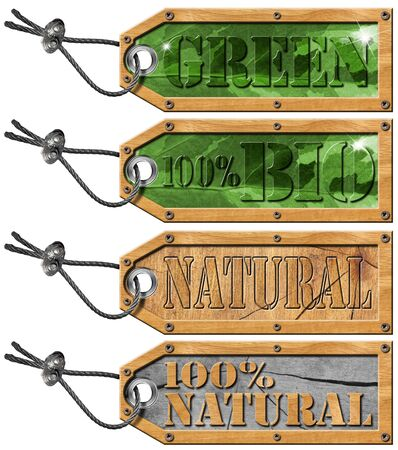 Green bio and natural tags with steel cable - 4 items Stock Photo - 15300116