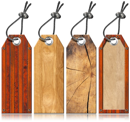 Four empty wooden tags with steel cable and metal rivets photo