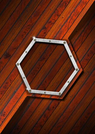 Empty hexagonal metallic frame on a old diagonal wooden wall photo