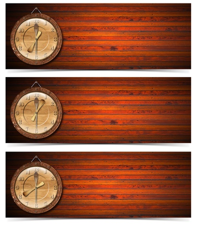 Set of wooden banners with wood clock - breakfast, lunch and dinner time  photo